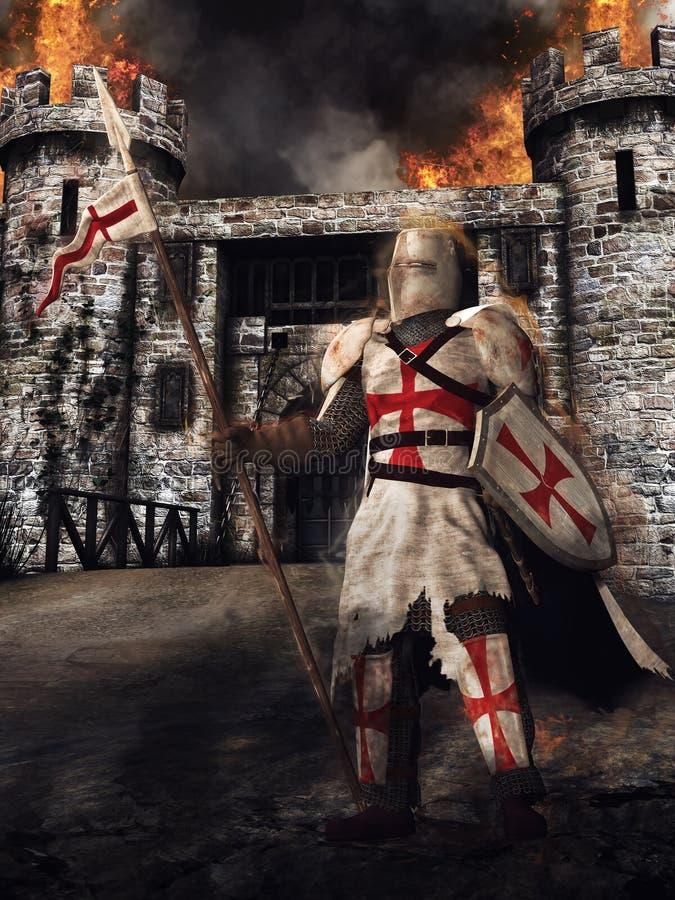 Средневековые рыцарь и замок иллюстрация вектора