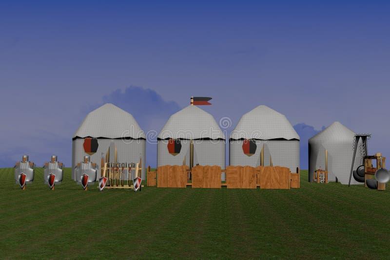 Средневековый лагерь иллюстрация вектора