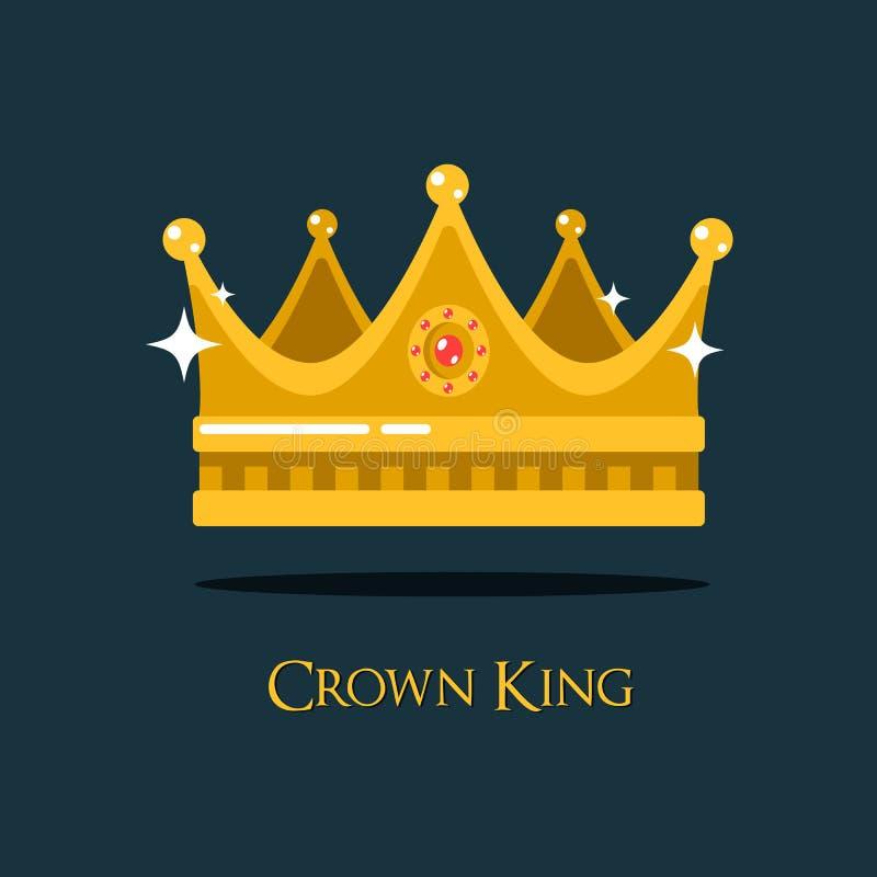 Средневековый головной убор кроны или короля ферзя иллюстрация вектора