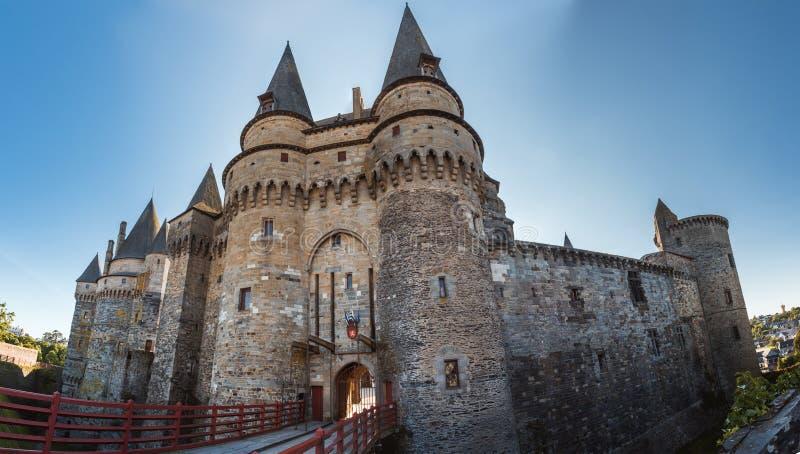 Средневековый замок Vitre Бретани, Франции стоковые фотографии rf