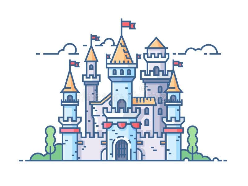 Средневековый каменный замок иллюстрация вектора