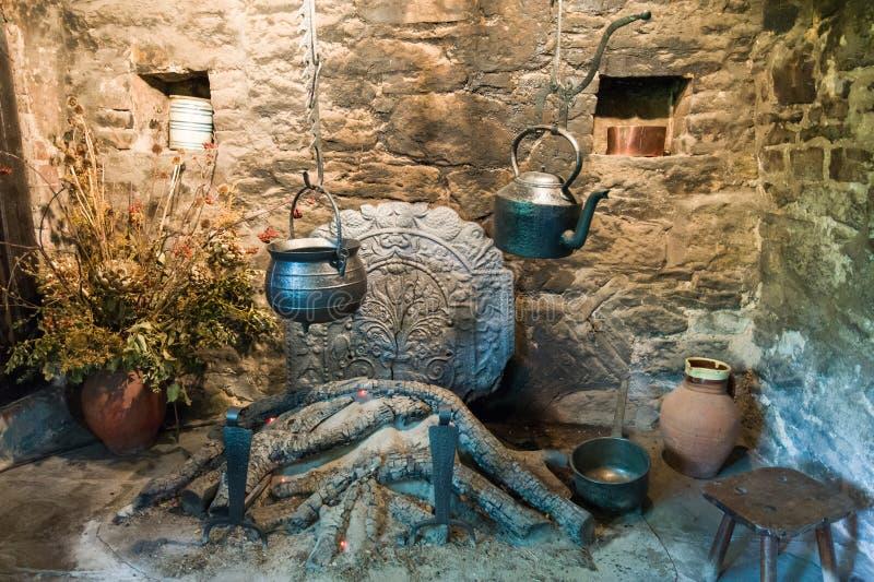 Средневековый камин стоковая фотография