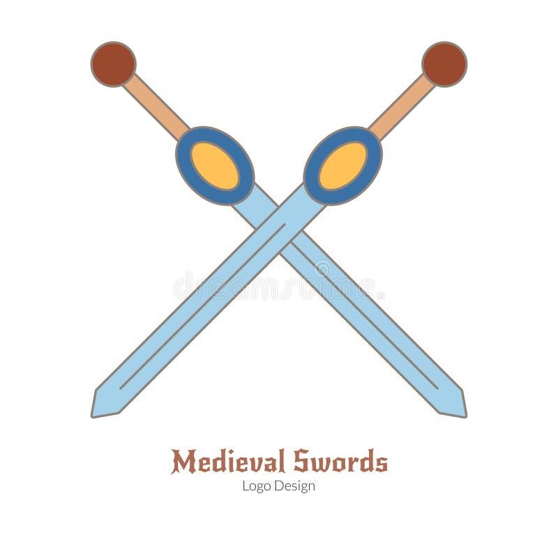 Средневековый красочный шаблон эмблемы логотипа, плоский стиль стоковое фото rf