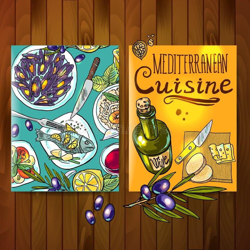 Среднеземноморская кухня иллюстрация вектора