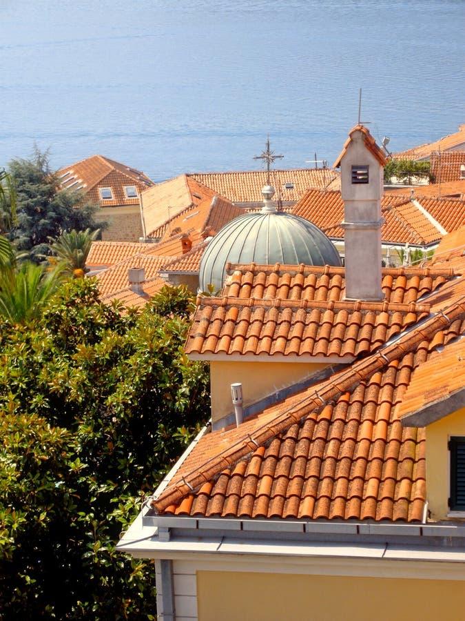 Крыши красной плитки, голубое море, зеленые заводы (Черногори) стоковое фото rf