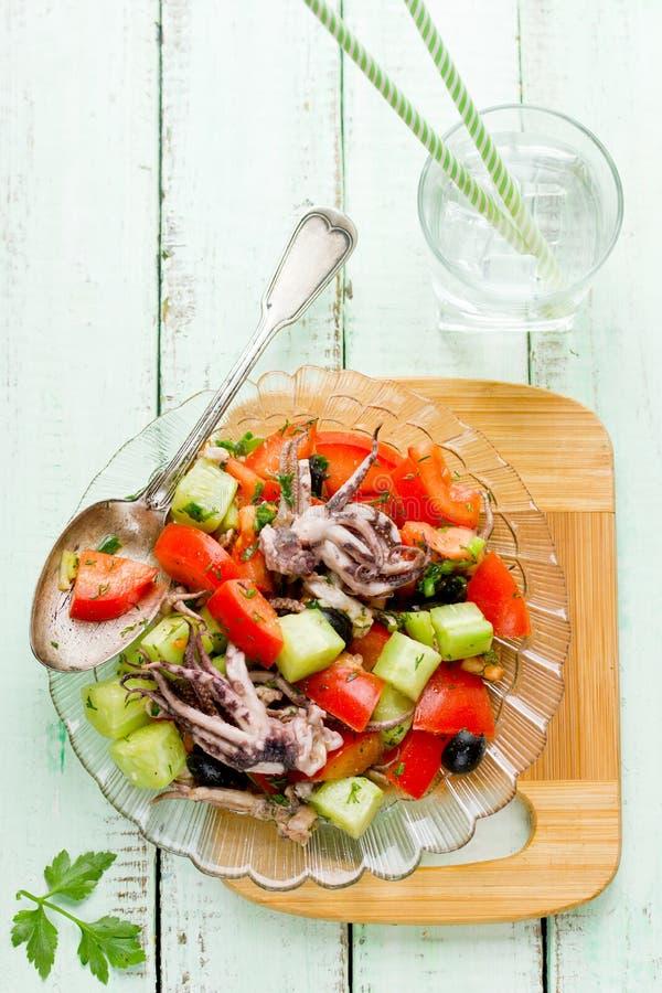 Среднеземноморской салат с огурцом томатов осьминога стоковое изображение rf