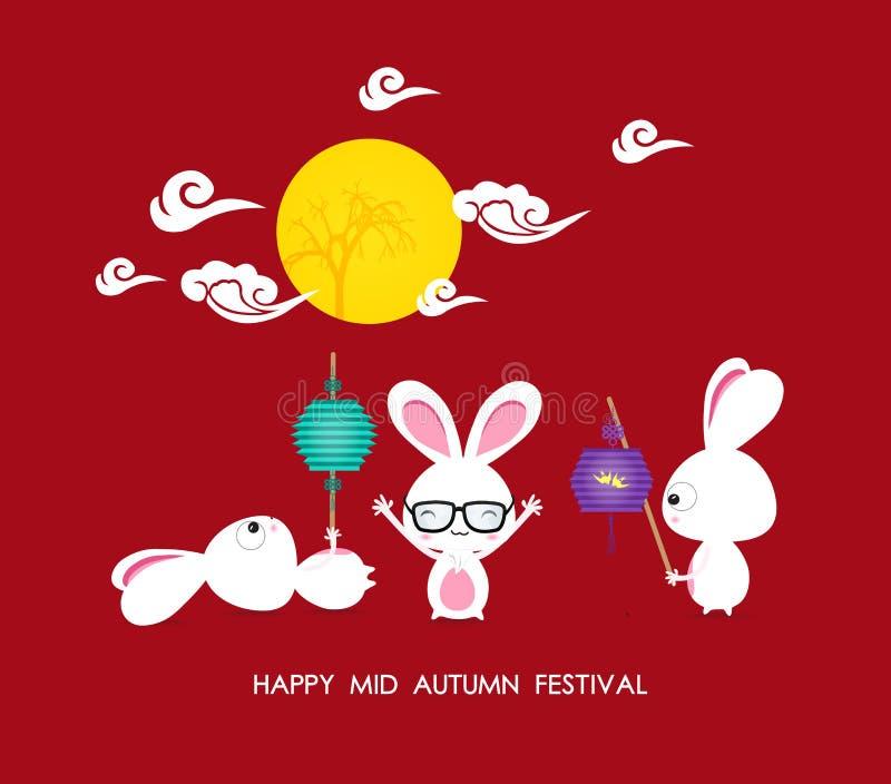 Средний кролик фестиваля осени играя с фонариками с китайцем иллюстрация штока
