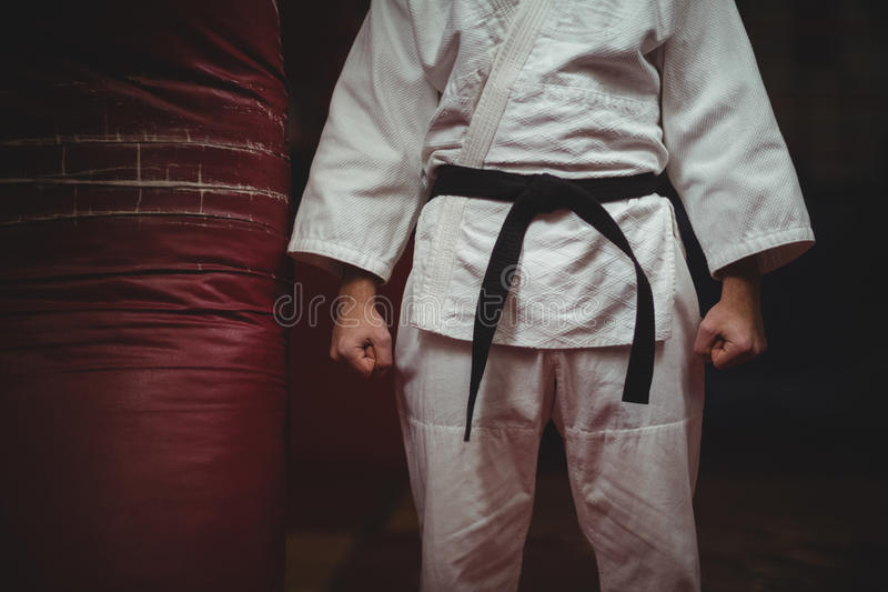 Средний раздел игрока карате делая кулак стоковое изображение rf