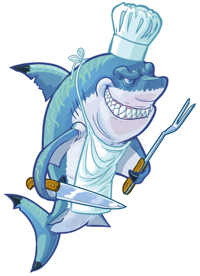 Средний шеф-повар акулы шаржа с утварями барбекю иллюстрация вектора