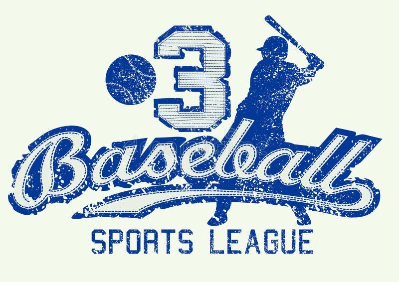 Средним голубым печать огорченная бейсболом с игроком иллюстрация штока