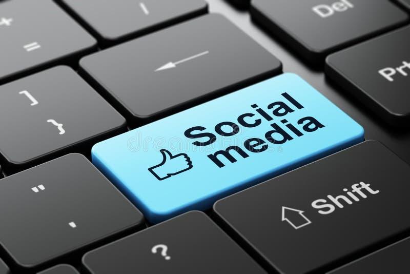 Средства массовой информации большого пальца руки поднимающие вверх и социальные на клавиатуре компьютера иллюстрация штока