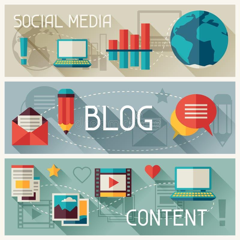 Средства массовой информации и дизайн знамен установленный с значками блога бесплатная иллюстрация