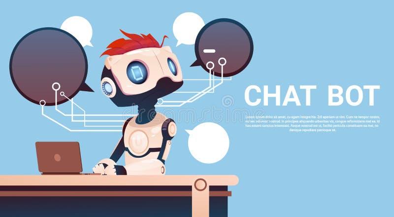 Средство болтовни используя портативный компьютер, помощь робота виртуальная вебсайта или передвижные применения, искусственный и бесплатная иллюстрация