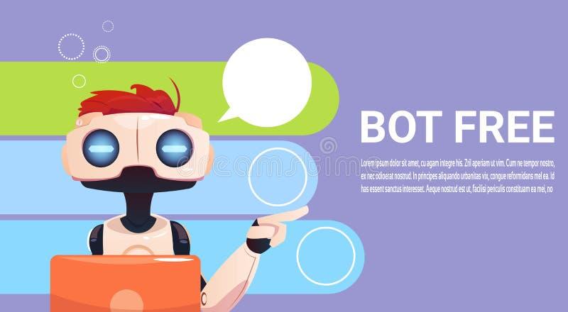 Средство болтовни используя портативный компьютер, помощь робота виртуальная вебсайта или передвижные применения, искусственный и иллюстрация штока