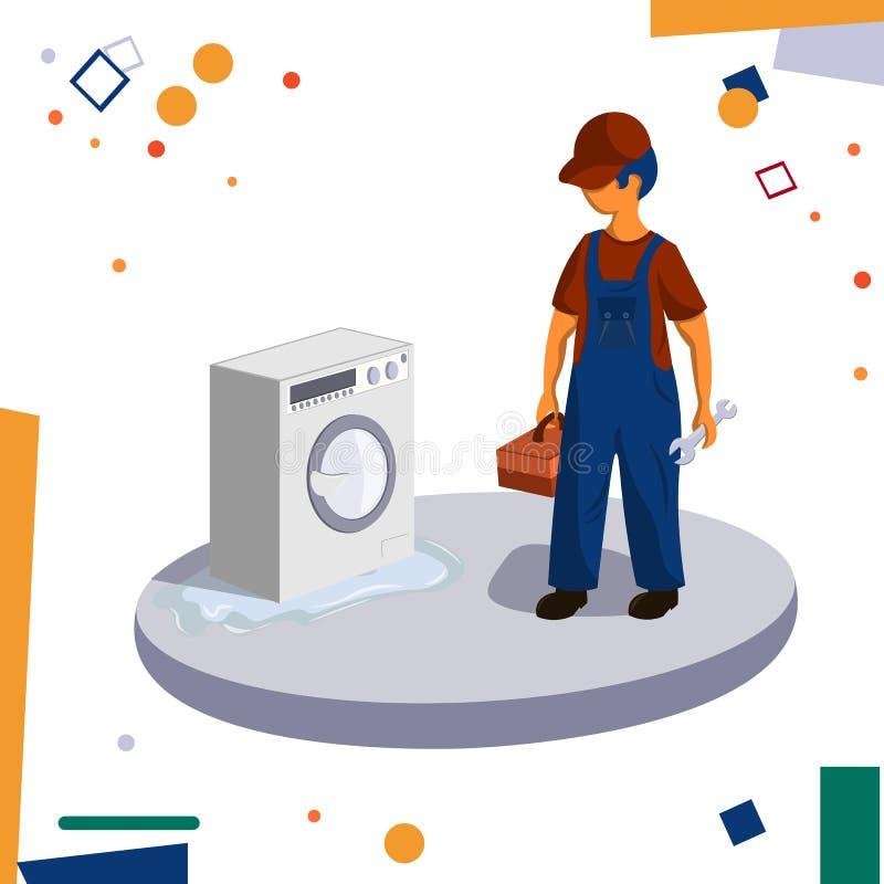 Срочная помощь ремонта Водопроводчик ремонтируя стиральную машину бесплатная иллюстрация