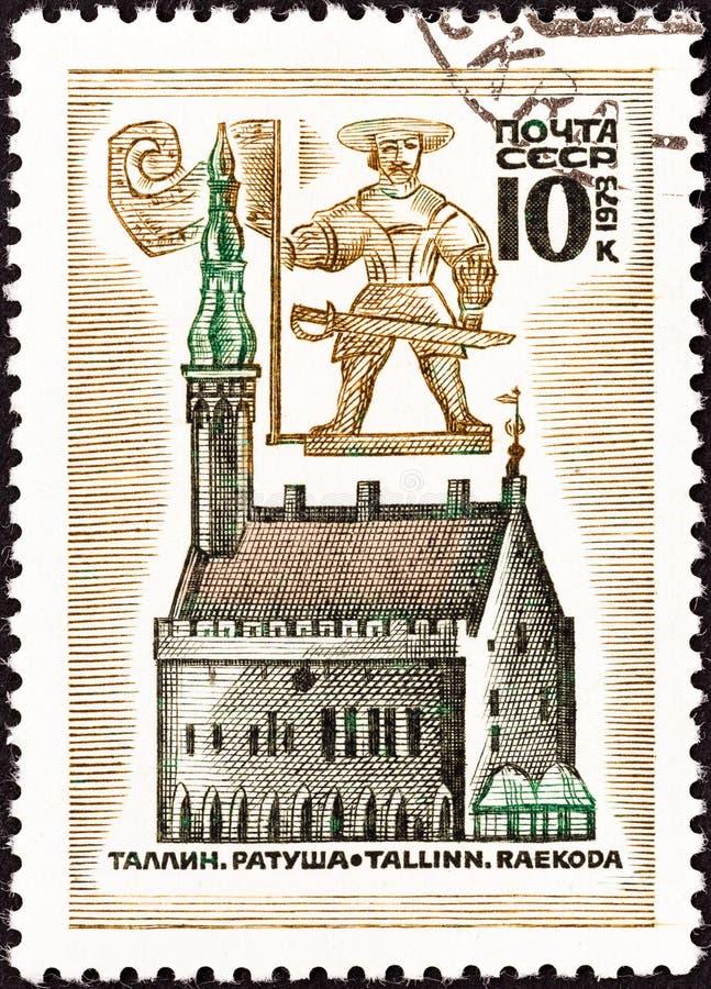 СССР - ОКОЛО 1973: Печать напечатанная в СССР показывает лопасть ратуши и погоды, Таллин, Эстонию, около 1973 стоковое изображение rf