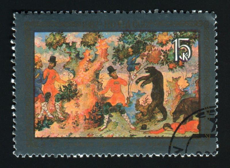 СССР - ОКОЛО 1982: Штемпель напечатанный в СССР, краска столба выставок стоковые изображения rf