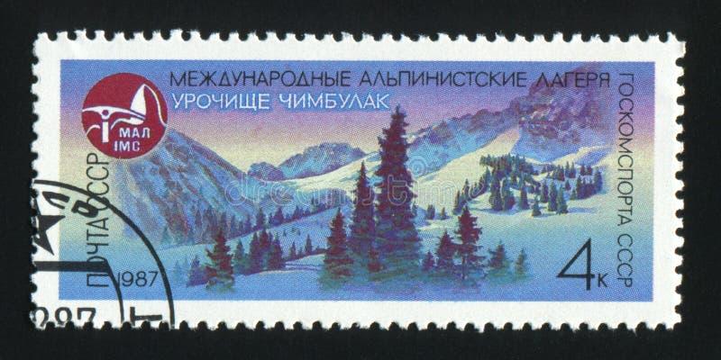 СССР - ОКОЛО 1987: Штемпель столба напечатанный в изображении выставок СССР m стоковые изображения rf