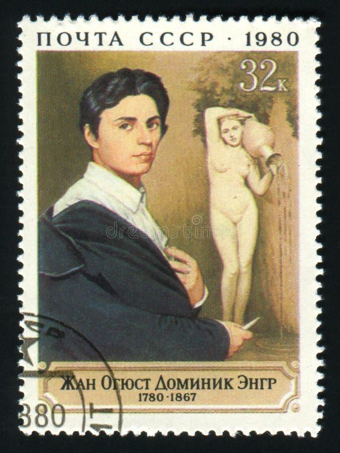 СССР - ОКОЛО 1980: Штемпель столба напечатанный в СССР показывает художника Джина Auguste Dominique Ingres, около 1980 стоковые изображения