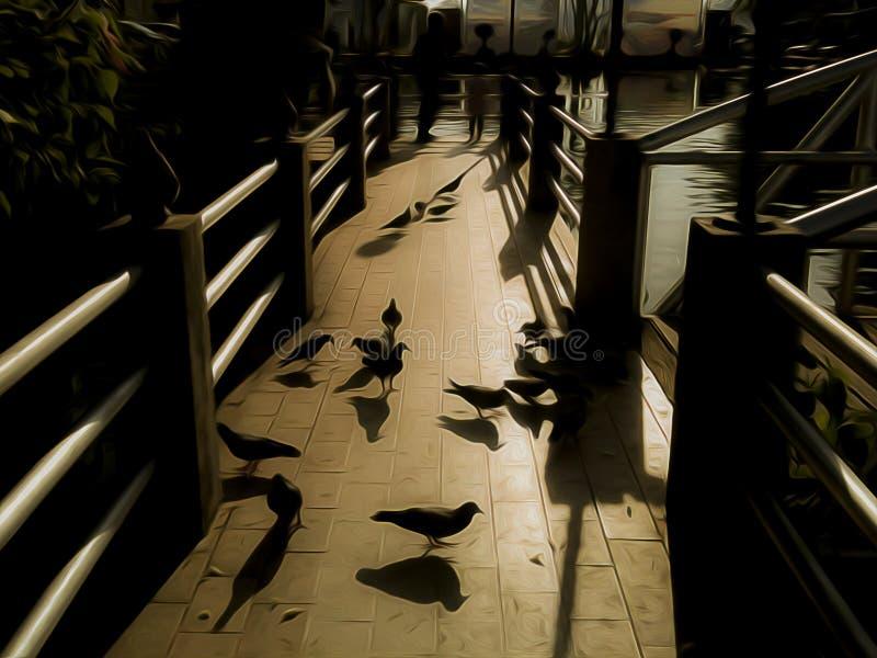 Стада птиц находят еда в вечере стоковое изображение