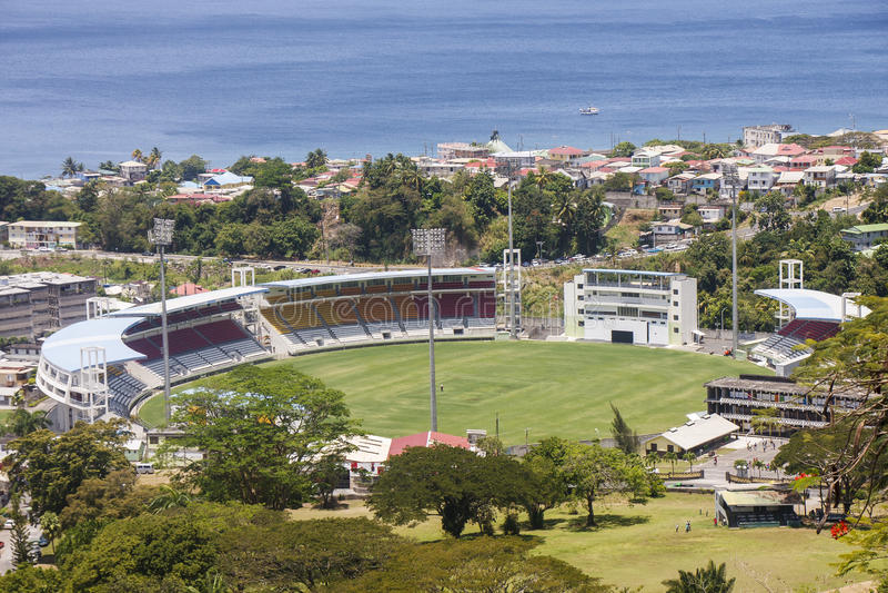 Стадион сверчка на Dominica стоковые фотографии rf