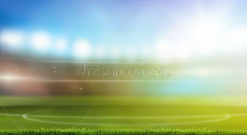 Стадион 3d спорта футбола футбола представляя зеленую траву запачкал d иллюстрация вектора