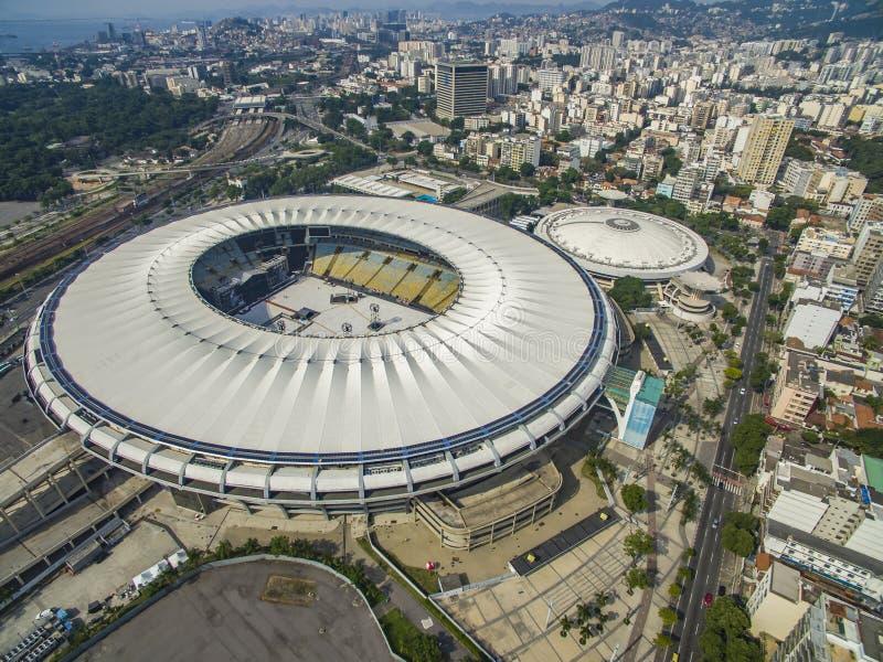 Стадион Maracana Бразильский футбол Город Рио-де-Жанейро, Бразилии Южной Америки стоковое фото