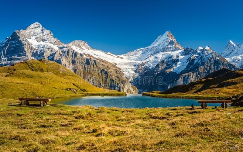 Сталкиваться Bachalpsee при пешем туризме сперва к Grindelwald Bernese Альпам, Швейцария стоковые изображения