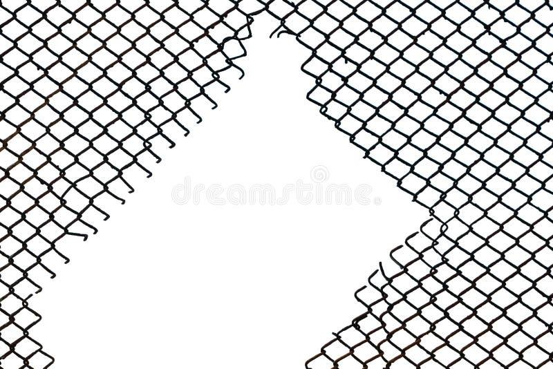Стальная загородка сетки с сорванной залой в ей стоковые изображения