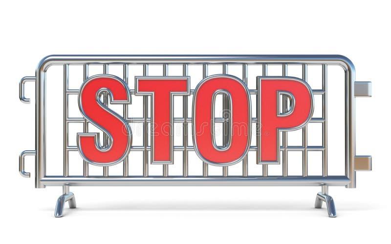 Стальной знак 3D СТОПА баррикад иллюстрация штока