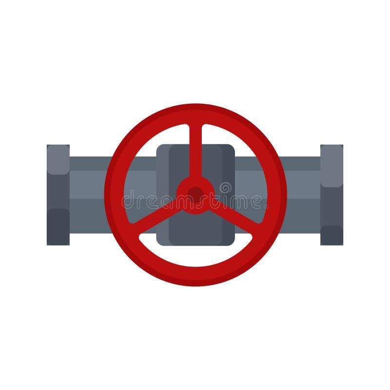 Стальной значок клапана, часть трубки и трубопровод изолированный на белой предпосылке Плоский элемент трубопровода воды, паяя иллюстрация штока