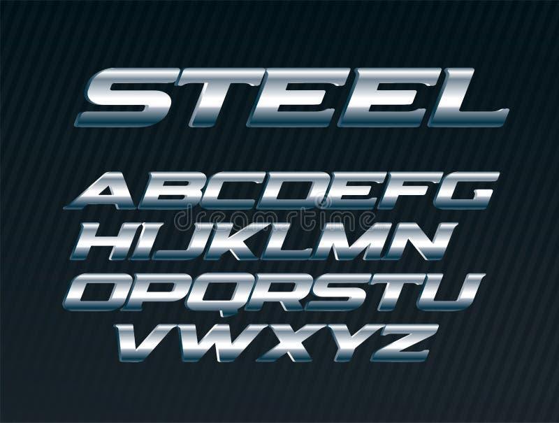 Стальной шрифт, письма металла установил, алфавит хрома, серебряные письма вектора, шрифт смелейшим курсивом uppercase для челове иллюстрация вектора