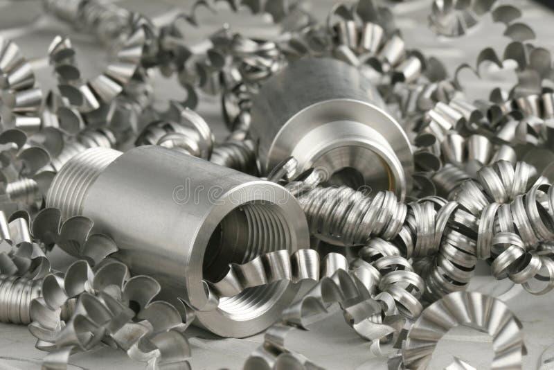 стальной workpiece turnings стоковое изображение rf