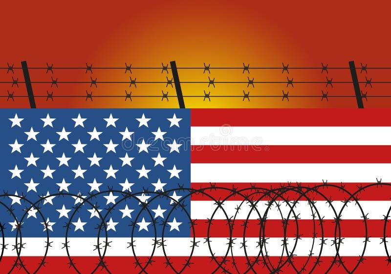 Сталь колючей проволоки на стене сделанной из американского флага Иммиграция от мексиканськой иллюстрации ( иллюстрация штока