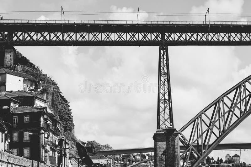 Сталь-мост в историческом центре Порто стоковое фото rf