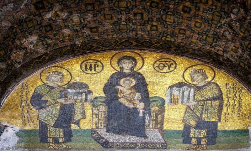 СТАМБУЛ, ТУРЦИЯ - 30-ОЕ АПРЕЛЯ 2018: Византийская мозаика в Hagia стоковое изображение rf