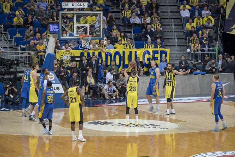 Стамбул/Турция - 20-ое марта 2018: Баскетболист Marko Guduric профессиональный для Fenerbahce стоковое изображение rf