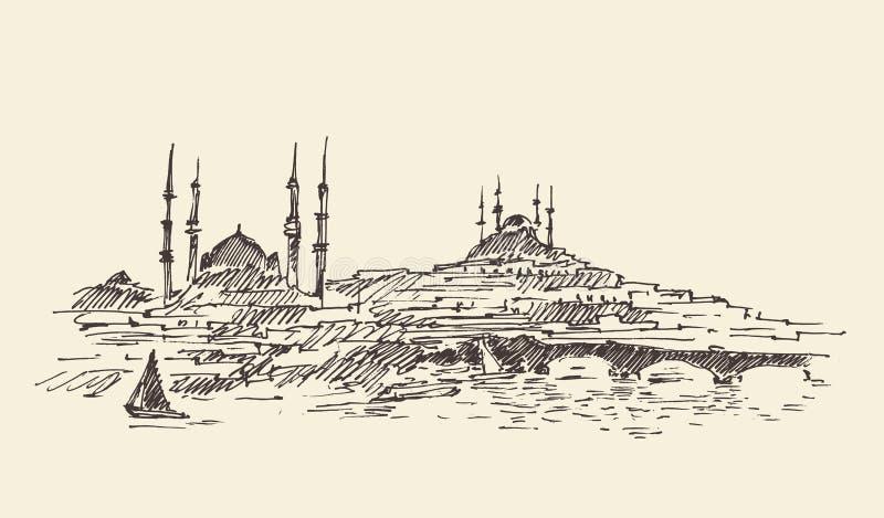 Стамбул, Турция, гавань, год сбора винограда выгравировал эскиз бесплатная иллюстрация
