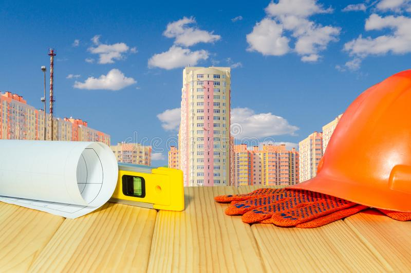 Стандартная безопасность конструкции, строя защита и инструменты стоковая фотография rf