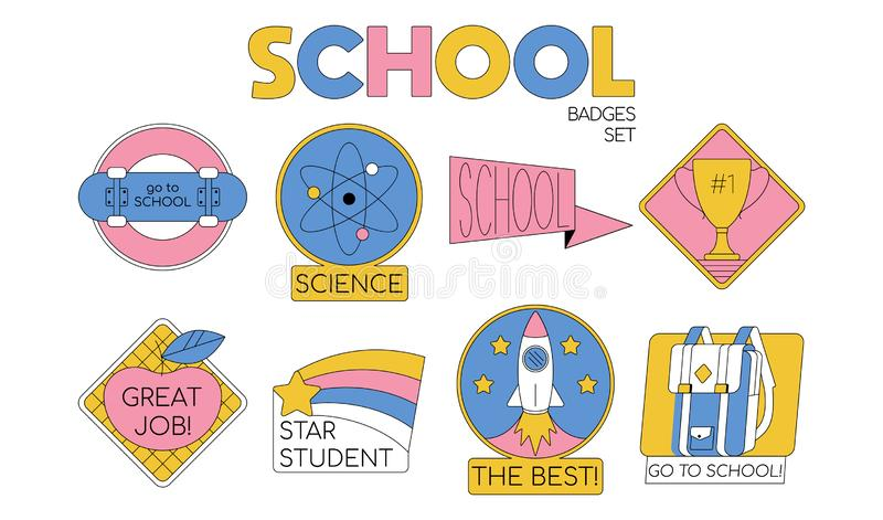 Back to school set collection of badges. For students, pupils clothes. Cartoon modern trendy line illustration. Education icons Fashion hipster design for stock illustration