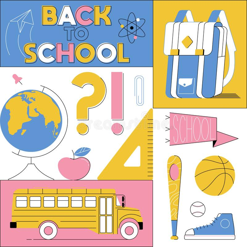 Back to school cute colorful cartoon illustration. Modern line kids style. School subjects icons bus backpack ball globe. Education print design for typography royalty free illustration