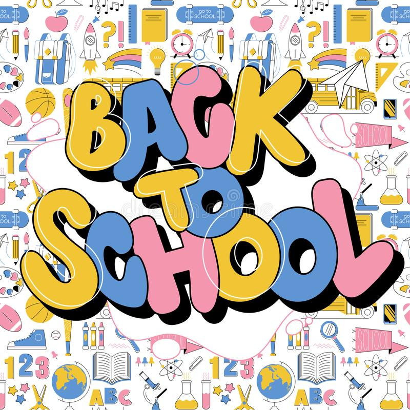 Back to school cute colorful kids inscription. In graffiti doodle trendy style. Education modern lettering cartoon illustration with different school subjects stock illustration