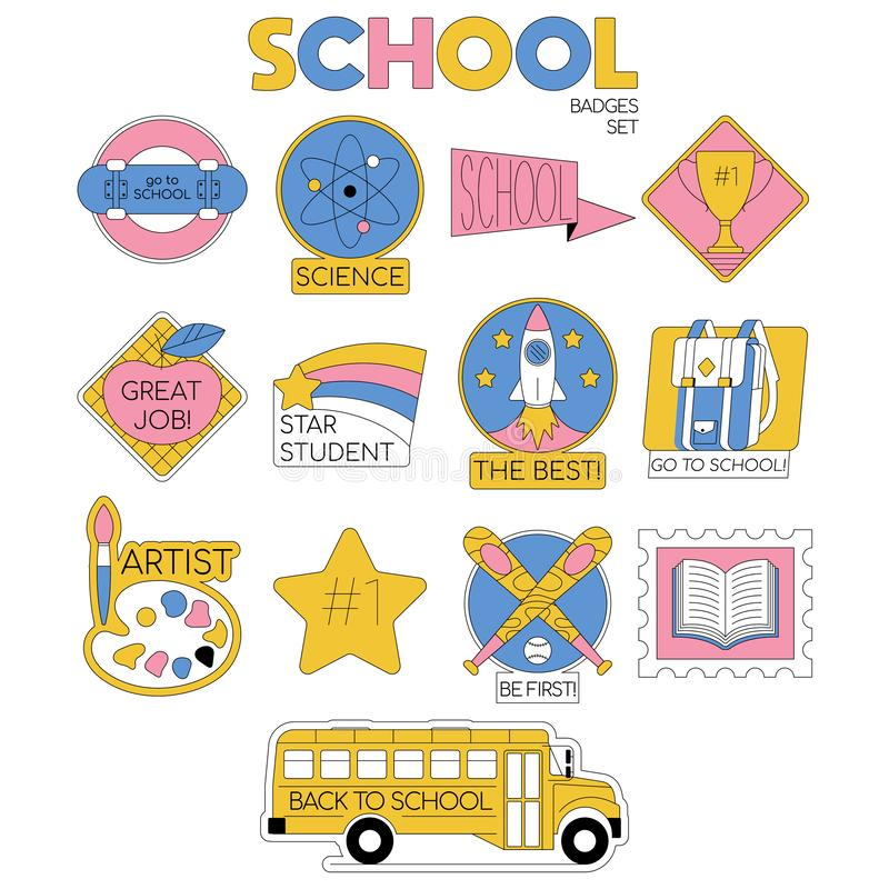 Back to school set collection of badges. For students, pupils clothes. Cartoon modern trendy line illustration. Education icons Fashion hipster design for royalty free illustration