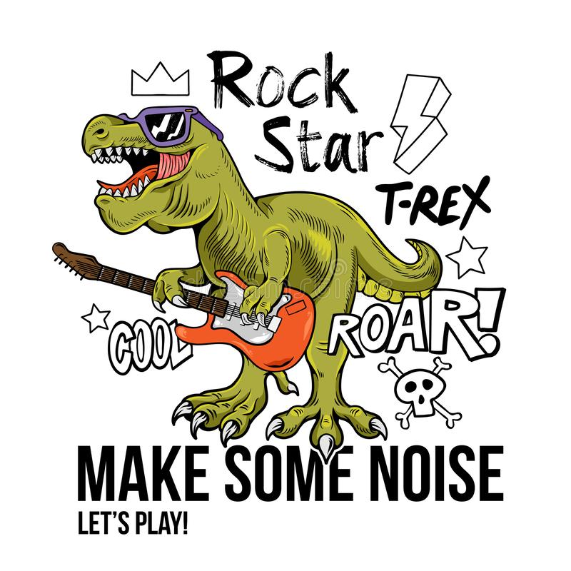 T-rex rock star print design stock illustration