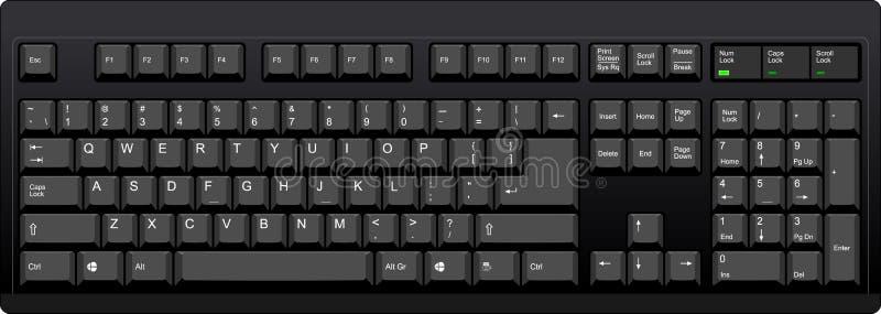 Стандартно расположенная клавиатура с американским английским планом иллюстрация штока