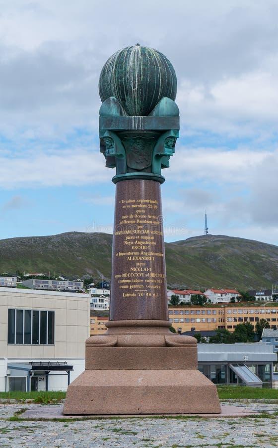 Станция дуги в Хаммерфесте, Норвегии Struve геодезической стоковое изображение
