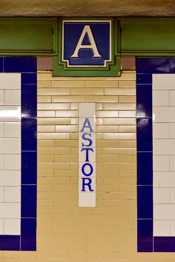 Станция метро места Astor - Нью-Йорк стоковые изображения