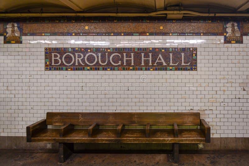 Станция метро Hall города - Бруклин, Нью-Йорк стоковые изображения rf