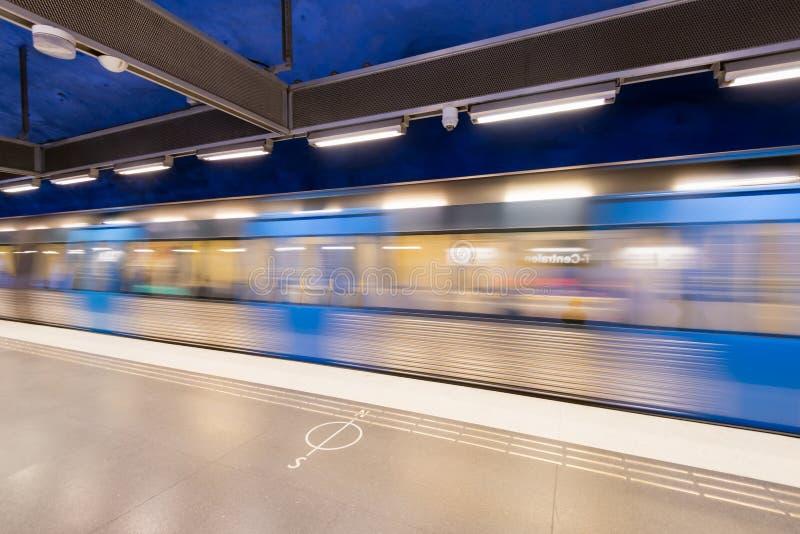 Станция метро T-Centralen в Стокгольме, Швеции стоковые фото