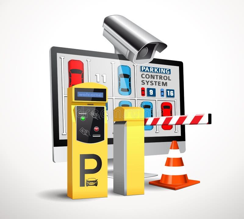 Станция оплаты автостоянки - контроль допуска иллюстрация вектора